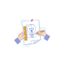 hand drawing light bulb on a sheet of paper flat vector image
