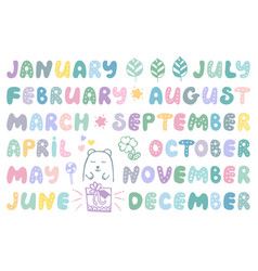 Handwritten names months cute doodle set vector