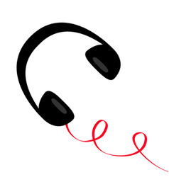 headphones with spring curl red cord black vector image