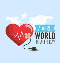 Heartbeat with stethoscope to world health day vector