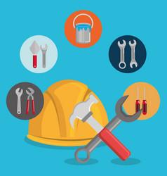 helmet with under construction equipment vector image