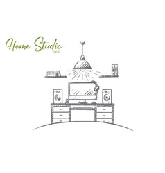 home studio concept hand drawn isolated vector image