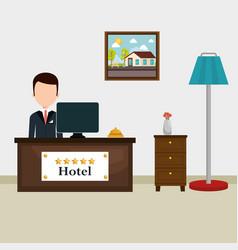Hotel receptionist working avatar vector