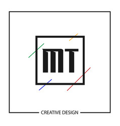 Initial letter mt logo template design vector