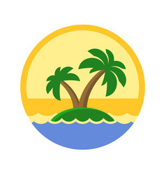 Island with palm trees cute logo vector