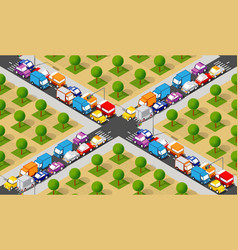 isometric crossroads intersection vector image