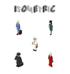 isometric person set of detective seaman female vector image