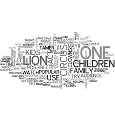 Its a circus text background word cloud concept vector