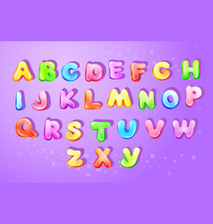 Kid alphabet bubble cartoon type letter set vector