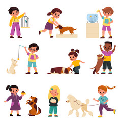 Kids with pets children with domestic animals vector