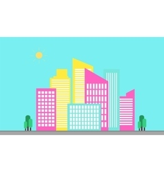 Landscape urban flat of silhouetes vector