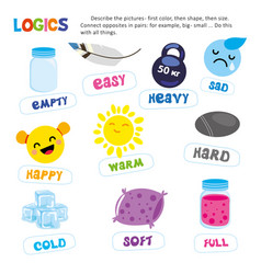 Logic kid describe picture game printable template vector