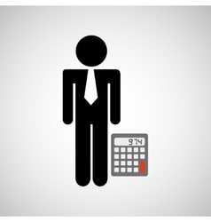 man silhouette business and calculator design icon vector image