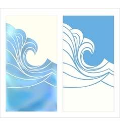 Marine pattern with stylized blue waves in vintage vector