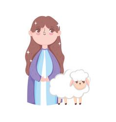 Mary and sheep manger nativity merry christmas vector