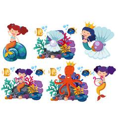 Mermaids and sea animals underwater vector