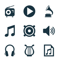 Music icons set with volume playlist radio and vector