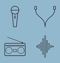 music line icon set vector image