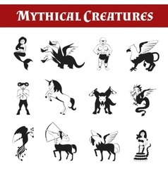 Mythical Creatures Black And White vector image