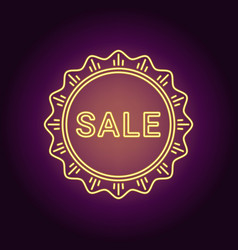 neon banner of yellow sale badge vector image