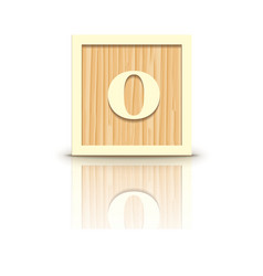 Number 0 wooden alphabet block vector
