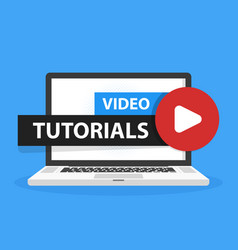 Online video tutorials education button in laptop vector