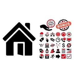 Open House Door Flat Icon with Bonus vector