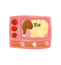 Pink lunch box with fresh tomatoes mashed vector
