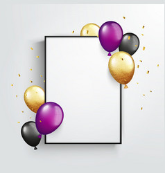 poster mock up with balloons and gold glitter vector image