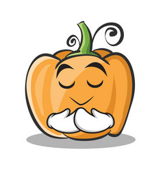 Praying pumpkin character cartoon style vector