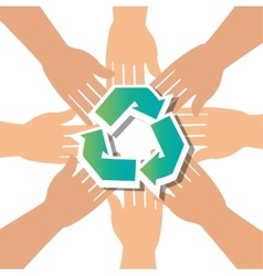 recycle concept hand unity group vector image