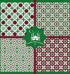 Seamless Islamic color patterns set vector image vector image