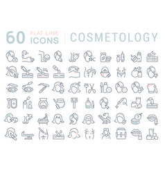 Set line icons cosmetology vector
