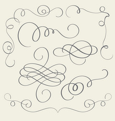 set of art calligraphy flourish vintage decorative vector image
