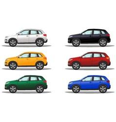 Set of luxury terrain vehicles in different colors vector