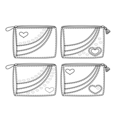 Set purses with valentine hearts outline vector