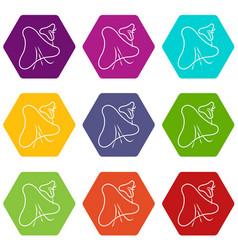 smallpox virus icons set 9 vector image