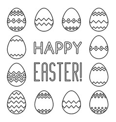 Square frame made of linear easter eggs vector