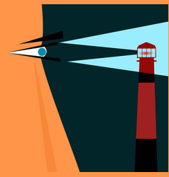 strong sailor man with a view of a lighthouse vector image