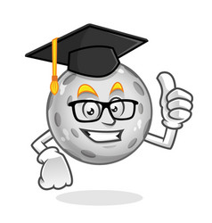 Student moon character design or moon mascot vector