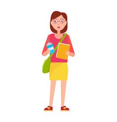 stylish school girl with handbag over shoulder vector image