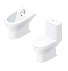 Toilet and bidet isometric icon vector image