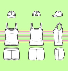 Top cap and shorts set vector image