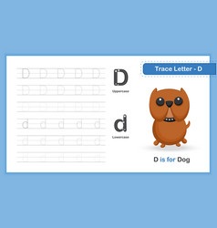 Trace letter-d a-z animal hand writing practice vector