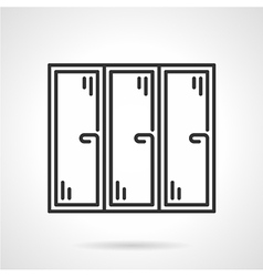 Triple window black line icon vector image