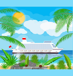 Tropical beach with cruise ship vector