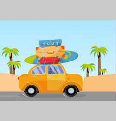 Trveling yellow car with pile luggage bags vector