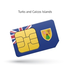 Turks and Caicos Islands mobile phone sim card vector