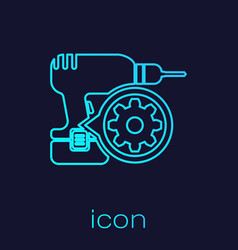 Turquoise drill machine and gear line icon vector