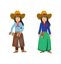 Two beautiful cowboy girls vector